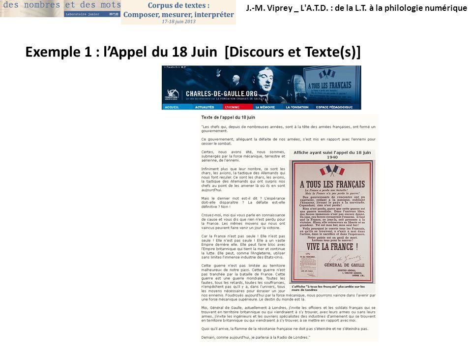 Exemple 1 : l'Appel du 18 Juin [Discours et Texte(s)]